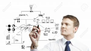 14206774-young-businessman-drawing-strategic-planning-Stock-Photo